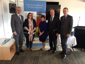 Prof David Perkins, Sarah Mitchell, Mrs Hurley, His Excellency the Hon. David Hurley, John Feneley at the Rural Suicide Prevention Forum April 2017